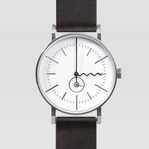 AARK Tide Watch Silver w/ Black Leather Strap